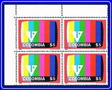 COLOMBIA 1980 COLOR TV block of 4 MNH COMMUNICATIONS