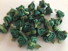 SMALL MINI SATIN RIBBON ROSE BUDS FLOWERS WITH SATIN GREEN LEAVES APPLIQUE CRAFT