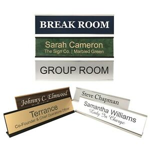 Personalized Office Name Plate Sign with Aluminum Wall or Desk Holder