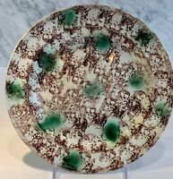 Antique Early Creamware Whieldon Green Brown Plate c.1760-80