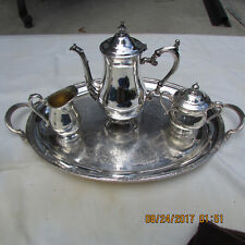 4 PC VINTAGE INTERNATIONAL SILVER CO. PLATED COFFEE TEA SET CAMILLE