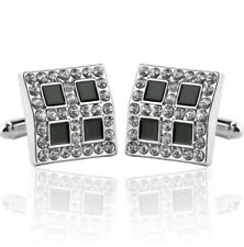 Buttons Silver Diamond Four Square Cufflinks Business Wedding Gift Suit Shirt