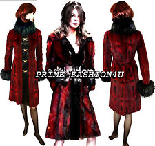 Dolce Gabbana Red Black Fitch Fur Leather Details Gold Tone Buckle Closure Coat
