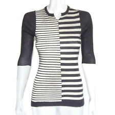 NANETTE LEPORE Cashmere Gray Striped Sweater 3/4 Sleeve Women's - S - DMG/4722