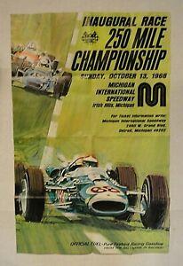 LOOK! 1968 USAC MICHIGAN INTERNATIONAL SPEEDWAY 250 MILE CHAMPIONSHIP POSTER!