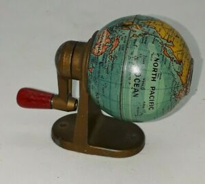 Vintage KUM West Germany Tin Litho World Globe Pencil Sharpene