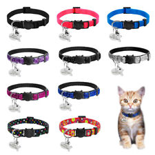 Nylon Breakaway Personalised Cat Collar with Bell for Kitten Kitty Adjustable