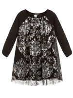 Biscotti NWT Girls Black Party Dress Silver Sequins Sizes 4-14 Long Sleeve