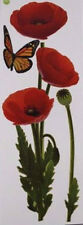 POPPIES wall stickers 10 decals red poppy flowers garden stems butterfly nature