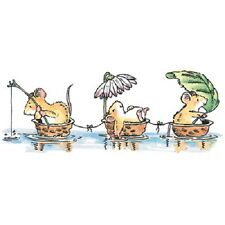 PENNY BLACK RUBBER STAMPS GONE FISHIN' MOUSE NEW wood STAMP