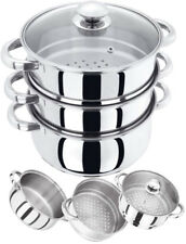 3 TIER INDUCTION HOB STAINLESS STEEL 22CM STEAMER POT PAN SET WITH GLASS LID