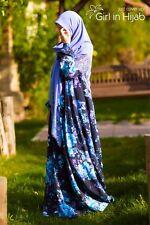 ✿Girl in Hijab Silk Long Sleeve Maxi Dress Jilbab Abaya Muslim Lined 10-12-14-16