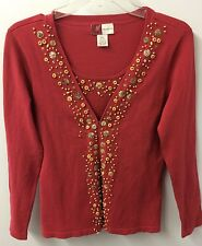 JM Collection Sweater S  Embellished Silk 3/4 Sleeve Euc ☀️☀️☀️