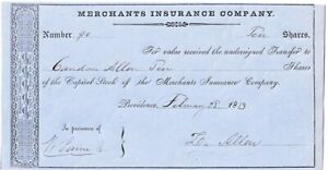 ZACHARIAH ALLEN Textile Tycoon, Scientist, Signed RI Stock Cert.