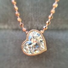 0.54 CARAT F VS2 NATURAL HEART SHAPE DIAMOND BEZEL SET PENDANT 18K ROSE GOLD