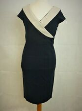 Asos Navy Pencil Dress With Contrast Wrap Front Size 12 uk rrp £60 CR092 FF 13