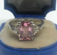 Vintage Sterling Silver Ring 925 Size 8 FAS Pink Sapphire Stone