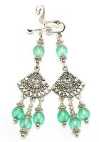 Long Drop Silver Turquoise/Green Clip-On Earrings Frosted Glass Bead Chandelier