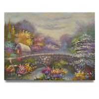 NY Art - Thomas Kinkade Style Landscape 12x16 Original Oil Painting on Canvas!