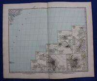 SOUTH AMERICA CITY PLANS, BUENOS AIRES, RIO, original antique map, Stieler, 1881