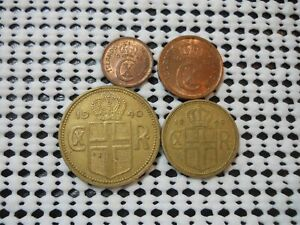 FOUR OLD COINS FROM ICELAND 1940'S FREE SHIPPING TO USA