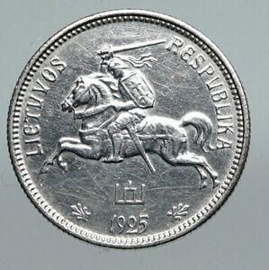 1925 LITHUANIA Silver 2 Litai JONAS BASANAVICIUS Vintage Lithuanian Coin i91284