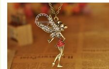 Angel Fairy Wings Rhinestone Chain Necklace Women Girls Jewelry Romantic Gift