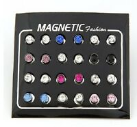 Fashion earrings crystal Magnetic stud 12 pairs 6mm mix colors wholesale