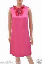 $3,759 NEW GUCCI EMBELLISHED HOT PINK RAFFIA DRESS 40