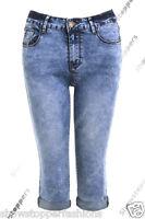 NEW Womens 3/4 Denim Pedal Pushers Shorts Capri Size 6 8 10 12 14 16 Blue Pants