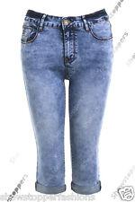 NEU Damen 3/4 Jeans Pedal Pusher Shorts Capri Größe 6-8-10 12 14 16 blau Hose