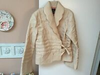 Persaman New York Stylish Women's Sz M 100% Silk Champagne Colored Lined Jacket
