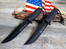 2 x Jagdmesser Messer Knife Bowie Buschmesser Coltello Cuchillo Couteau Hunting.