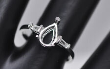 6x8mm Oval Cut Solid 18k 750 White Gold Semi Mount Anniversary Ring