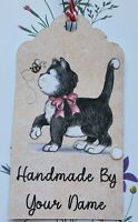 12  LARGE Handmade by Personalised tags - CUTE CAT & BEE  -  10cm x 5.5cm