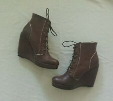 UO Deena & Ozzy Tan Brown High-heel Lace-up Wedge Boot US 7