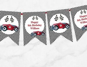 Vintage Racing Car Personalised Checkered Bunting Any Occasion - 3m  10 Flags