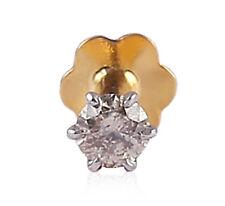 0,06 Cts Rund Brilliant Cut Diamanten Nase Stud In feinen Hallmark 18 K Gelbgold
