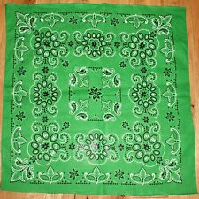 Cotton Bandana Scarf Kelly Green Paisley Extra Large 27 inches square