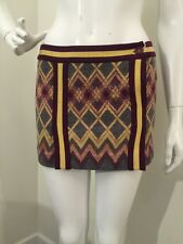 MISSONI SKIRT Argyle Plaid Gray+Pink+Maroon+Yellow Fitted Short Mini 40 NWT!