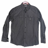 Roar Men's Gray Signature Edition Buckle Long Sleeve Button Up Shirt Size Large