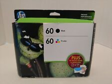 HP 60 Black & Tri-Color Ink Cartridges w/Photo Paper Combo Pack Brand New 2/2017