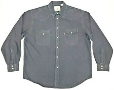 Levi's Red Tab Pearl Snap Western Denim Black Long Sleeve Shirt Mens Size XL EUC