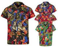MENS HAWAIIAN SHIRT JUNGLE STAG BEACH HOLIDAY ANIMAL FANCY DRESS SIZES S - 2XL
