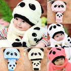 Winter Baby Toddler Girl Boy Warm Cute Panda Hat Cap Beanie Scarf Set Kids Child