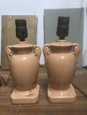 Pair of Vintage Pink Delicate Ceramic Table Lamps Bedside Girl Room Gold Trim