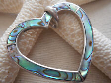 Vintage Southwest Sterling Silver Inlaid Abalone Heart  Pendant    77G