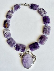 VINTAGE 925 STERLING SILVER AMETHYST CHUNKY ARTISAN RUNWAY PENDANT NECKLACE