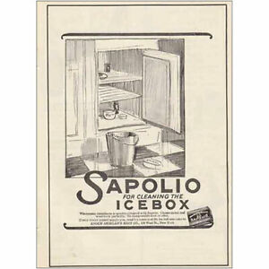 1925 Sapolio: For Cleaning the Icebox Vintage Print Ad
