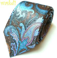 ERMENEGILDO ZEGNA Limited Edition QUINDICI brown blue PAISLEY silk Tie NWT Auth
